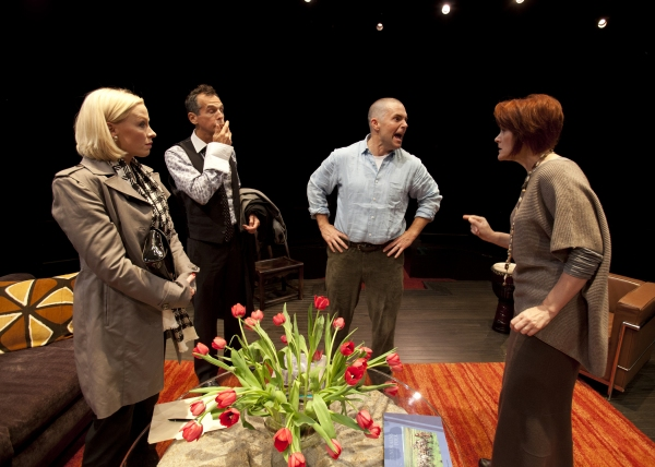 (from left) Caitlin Muelder as Annette Raleigh, T. Ryder Smith as Alan Raleigh, Lucas Caleb Rooney as Michael Novak and Erika Rolfsrud as Veronica Novak in the San Diego Premiere of God of Carnage by Yasmina Reza, translated by Christopher Hampton and dir