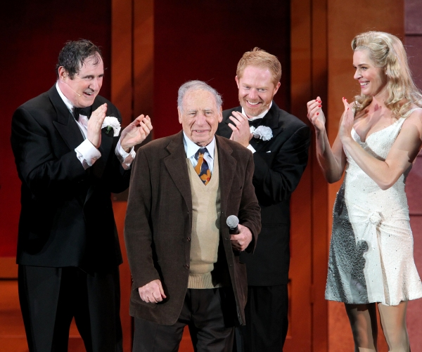 Richard Kind, Mel Brooks, Jesse Tyler Ferguson and Rebecca Romijn