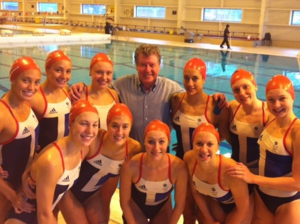 Michael Crawford and swimming team at Michael Crawford Helps Out British Synchronized Swimming Team!