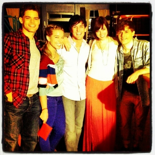 Jeremy Jordan, Savannah Wise, Wesley Taylor and Krysta Rodriquez reunite on the set of SMASH