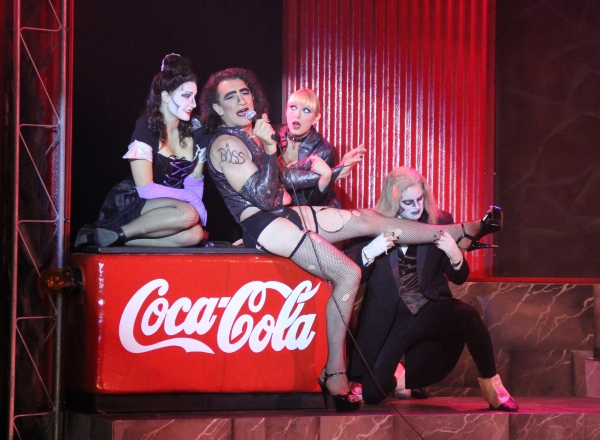 Emily Callahan as Magenta, Fee Waybill as Dr. Frank 'N' Furter, Bethany Edlund as Columbia and Brendan Ragotzy as Riff-Raff