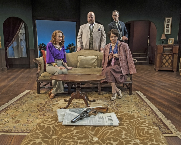 Melissa Herion as Henrietta Angkatell, Dale Young as Sir Henry Angkatell, Mark Mason as Gudgeon and Mary Williams as Lady Angkatell