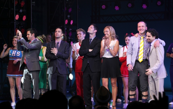 Ensemble Cast with Andy Blankenbueher, Lin-Manuel Miranda, Tom Kitt,  Amanda Green, Jeff Whitty, & Alex Lacamoire  at BRING IT ON's Spirit-Filled Opening Night Curtain Call!