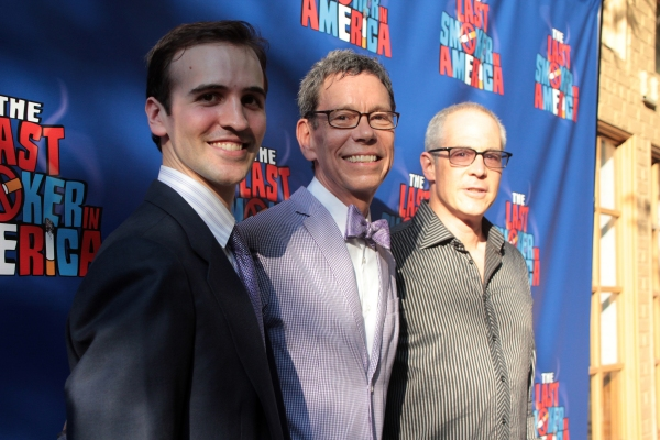 Andy Sandberg, Bill Russell, Peter Melnick at THE LAST SMOKER IN AMERICA Opening- Arrivals and Curtain Call!