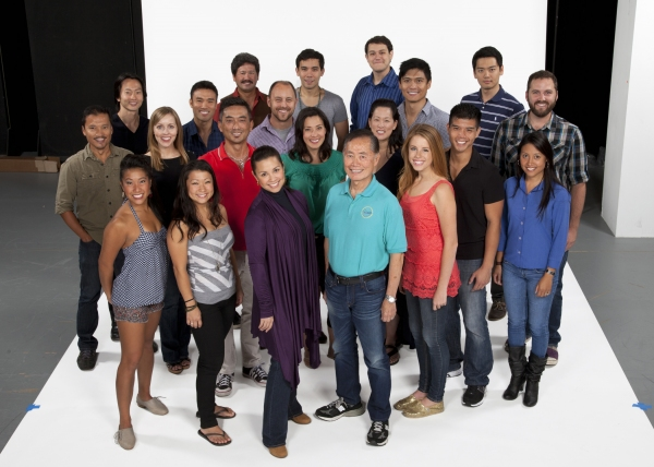 (back row, from left) Scott Watanabe, Conrad Ricamora, Brandon Joel Maier and Karl Josef Co; (third row) Michael K. Lee, Marc de la Cruz, Geno Carr, Paolo Montalban and Kurt Norby; (second row) Jon Jon Briones, Jill Townsend, Paul Nakaushi, Ann Sanders, M