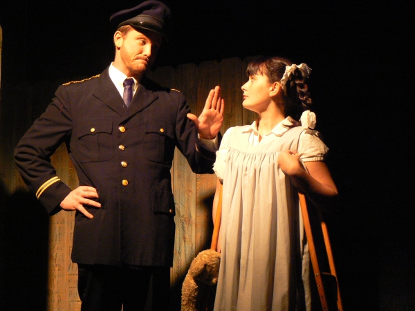 Ryan Martin as Officer Lockstock and Mica Box as Little Sally. Photo