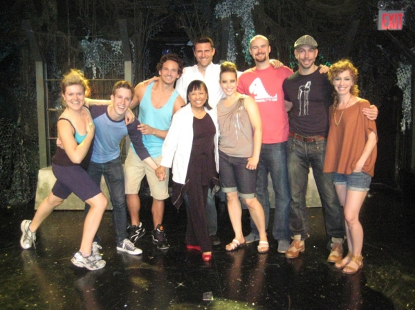 Baayork Lee (front, center) with Claire Neumann, Alex Wyse, Brandon Espinoza, Zak Sandler, Shelley Thomas, Lee Seymour, Wade McCollum and Lindsay Nicole Chambers at Baayork Lee Visits TRIASSIC PARQ The Musical