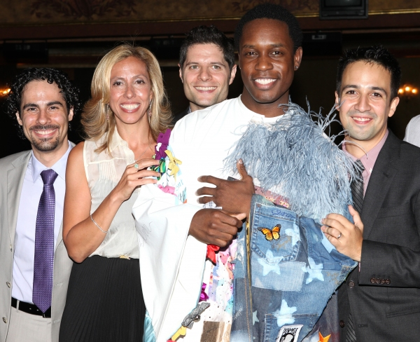Alex Lacamoire, Amanda Green, Tom Kitt, Lin-Manuel Miranda with Rod Harrelson (Gypsy Robe Recipient) at Inside the BRING IT ON Gypsy Robe Ceremony!
