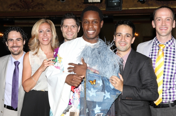 Andy Blankenbuehler, Alex Lacamoire, Amanda Green, Tom Kitt, Lin-Manuel Miranda,  Jeff Whitty with Rod Harrelson (Gypsy Robe Recipient)  at Inside the BRING IT ON Gypsy Robe Ceremony!