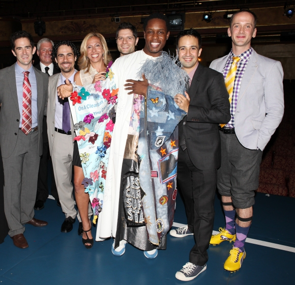 Andy Blankenbuehler, Alex Lacamoire, Amanda Green, Tom Kitt,  Jeff Whitty, Lin-Manuel Miranda with Rod Harrelson (Gypsy Robe Recipient)