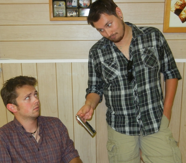 Austin Hill (left) as Mr. Blume and JD Lopez (right) as groundskeeper Bruno