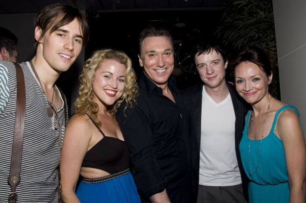Reeve Carney, Rebecca Faulkenberry, Patrick Page, Matthew James Thomas and Katrina Lenk at SPIDER-MAN Cast Says Goodbye to Patrick Page!