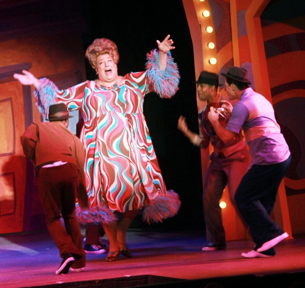 Ivore Rousell, Actors' Playhouse Artistic Director David Arisco as Edna Turnblad, Walter Kemp, II, and Michael Joseph in Hairspray. Photo: Alberto Romeu.