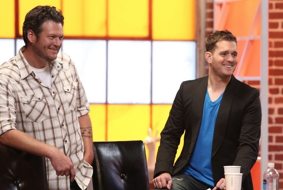 Blake Shelton, Michael Buble at First Look - Blige, Bublé & More on NBC's THE VOICE