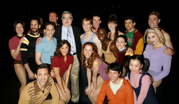 Marvin Hamlisch and Bob Avian with cast members: Michael Berresse, Brad Anderson, Mara Davi, Jeffrey Schecter, Yuka Takara, Michael Paternostro, Charlotte d'Ambroise, Deidre Goodwin, Ken alan, Heather Parcells, James T. Lane, tony Yazbeck, Chryssie Whiteh