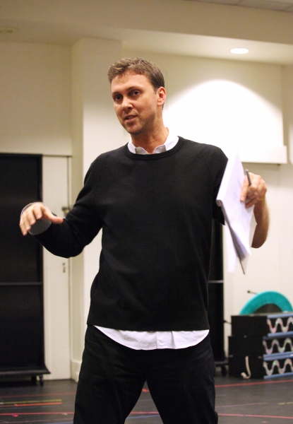 Warren Carlyle (Director / Choreographer) at In Rehearsal with the Cast of CHAPLIN!