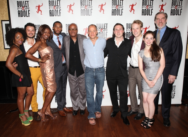 Marsha Stephanie Blake, Lee Osorio, Shamika Cotton, Tyler Jacob Rollinson, Frankie Hyman, Woody Harrelson, Brandon Coffey, David Coomber, Shannon Garland and Nick Wyman attending the Opening Night Performance After Party for 'Bullet For Adolf' at Hurley's