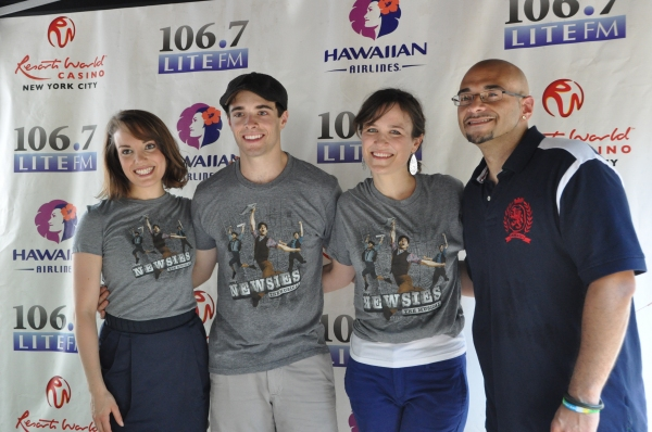Victor Sosa with Kara Lindsay, Corey Cott and Julie Foldesi at NEWSIES, REBECCA and More Perform at Broadway in Bryant Park!