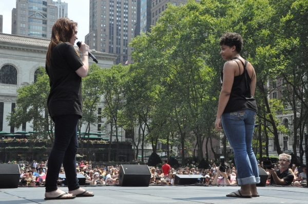 Emma Hunton and Shaleah Adkisson at NEWSIES, REBECCA and More Perform at Broadway in Bryant Park!