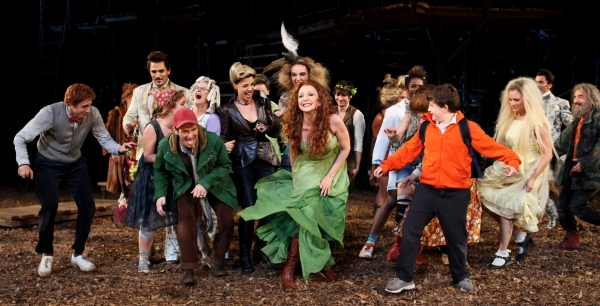 Gideon Glick, Ivan Hernandez, Jessie Mueller, Tina Johnson, Ellen Harvey, Bethany Moore, Denis O'Hare, Donna Murphy, Amy Adams, Eric R. Williams, Cooper Grodin, Josh Lamon,  Sarah Stiles, Chip Zien, Tess Soltau & Jack Broderick  at INTO THE WOODS Opening Night Curtain Call!