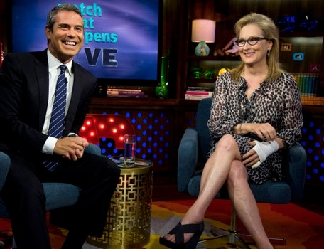 Andy Cohen, Meryl Streep at Meryl Streep Appears on WATCH WHAT HAPPENS LIVE!