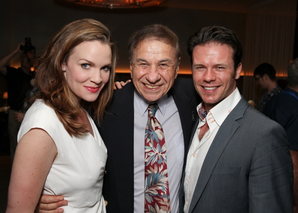 Cast member Rachel Wallace, composer Richard M. Sherman and cast member Nicolas Dromard