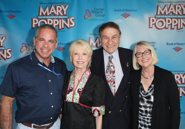 Jack Eldon, VP Domestic, Disney Theatrical Productions; Elizabeth Sherman; Richard M. Sherman, composer and Pam Young, director creative development, Disney Theatrical Group pose during the arrivals.