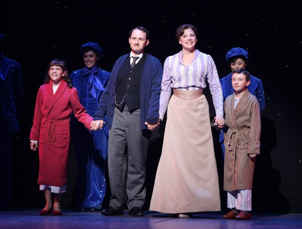 "Cherish Myers, Michael Dean Morgan, Elizabeth Broadhurst and Zachary Mackiewicz take their curtain call during the opening night performance of ""Mary Poppins"" at the Center Theatre Group/Ahmanson Theatre."