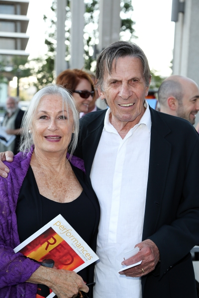 "Susan Bay, left, and actor Leonard Nimoy, right, pose during the arrivals for the opening night performance of ""Red"" at the Center Theatre Group/Mark Taper Forum on Sunday,  Aug. 12, 2012, in Los Angeles, Calif. (Photo by Ryan Miller/Capture Imaging)"