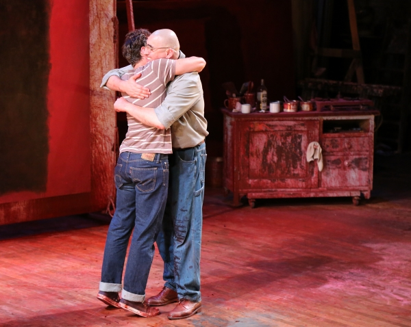 "Cast members Jonathan Groff, left, and Alfred Molina, right, hug at the curtain call after the opening night performance of ""Red"" at the Center Theatre Group/Mark Taper Forum on Sunday,  Aug. 12, 2012, in Los Angeles, Calif. (Photo by Ryan Miller/Capture"