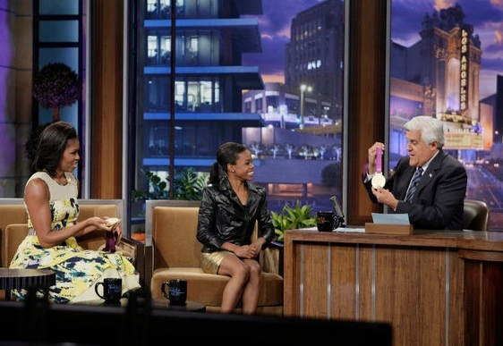 Michelle Obama, Gabby Douglas at Michelle Obama, Gabby Douglas Guest on JAY LENO