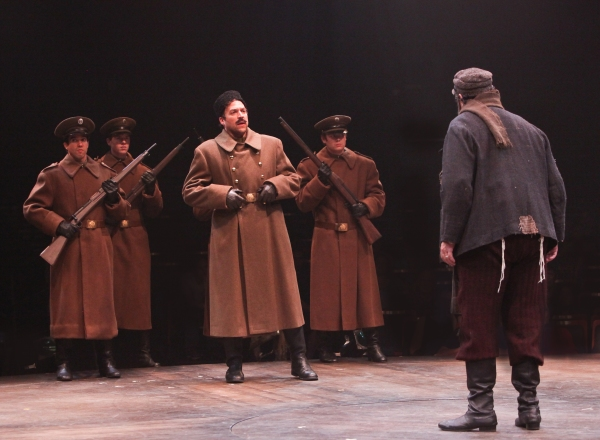 Aaron Serotsky and Bob Amaral as Constable and Tevye, with Russian military Andrew J. Perez, Benjamin Gibson and Joseph Lewis