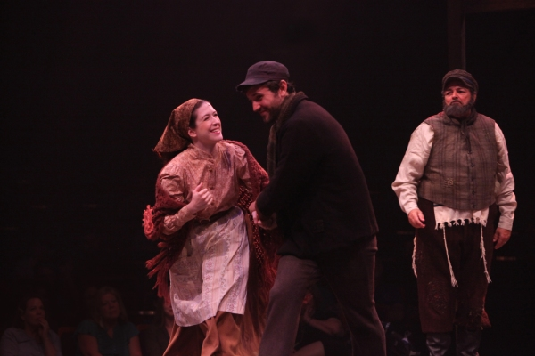 Leah Horowitz, Jordan Bondurant and Bob Amaral as Hodel, Perchik and Tevye Photo