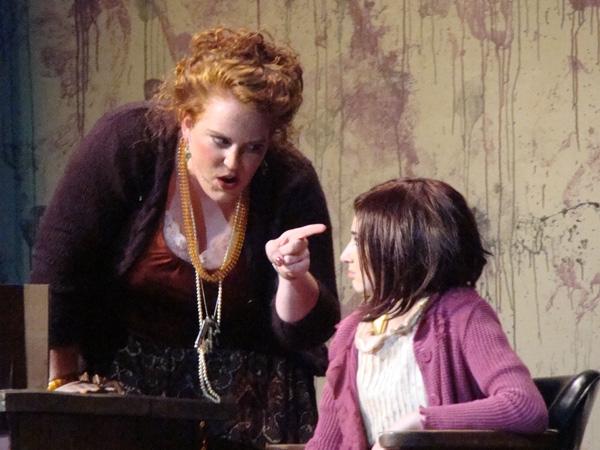 Caitlin Hughes as Miss Hannigan, and Brigid Harrington as Annie     Photo