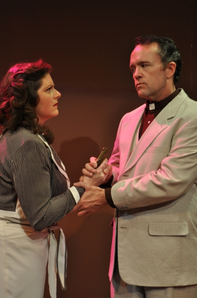 Haley Johnson (as Jacqueline de Severac) and Todd Black (as Canon Pennefather)
