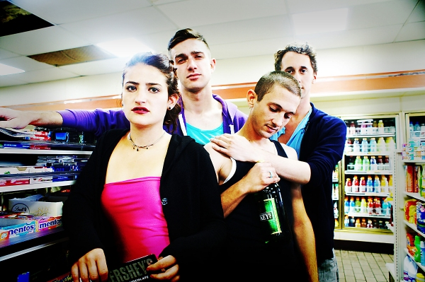 (L to R) Lulu (Genevieve Jona), Robbie (Robbie Dwight), Gary (Bailey Boudreau) and Mark (Matthew Turner Shelton) spend the day Shopping & Fucking at Ferndale's Ringwald Theatre from September 8-24, 2012. Photo by Joe Plambeck.