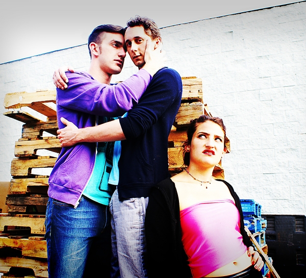 (L to R) Robbie (Robbie Dwight), Mark (Matthew Turner Shelton), and Lulu (Genevieve Jona) spend the day Shopping & Fucking at Ferndale's Ringwald Theatre from September 8-24, 2012. Photo by Joe Plambeck.