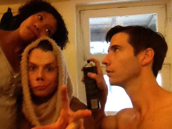 "THE BOOK OF MORMON's Clark Johnsen ""and Company @clarkjohnsen #SIP @nikkimjames @schrader99 Yoda needs a lot of attention on 2 show days. http://pic.twitter.com/XNcECNWj"