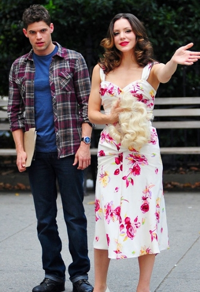 Jeremy Jordan, Katharine McPhee at Jeremy Jordan, Jennifer Hudson, Katharine McPhee on Set of SMASH