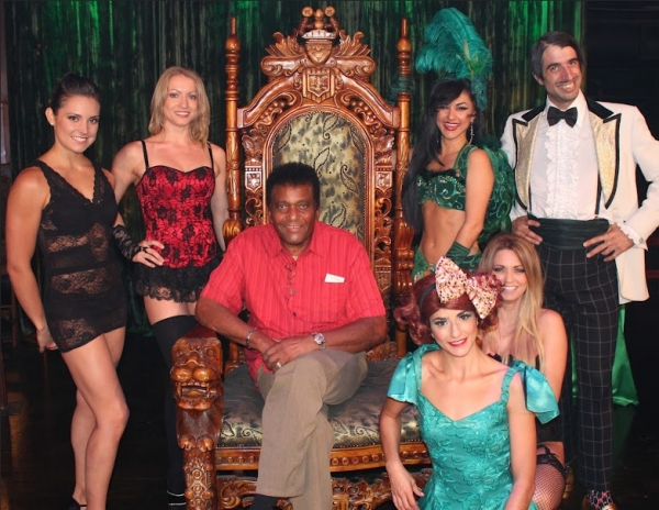 American country music singer Charley Pride with the ABSINTHE Cast