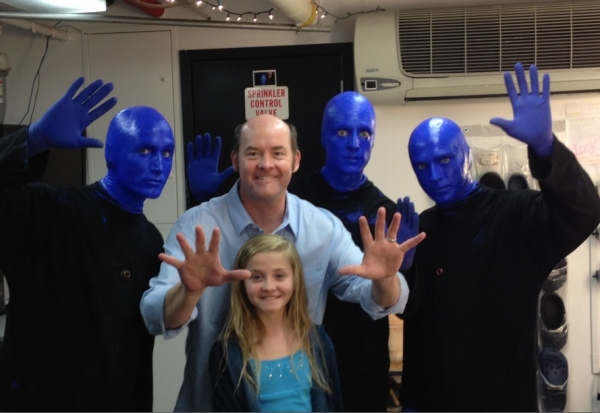 David Koechner and his daughter with Blue Man Group