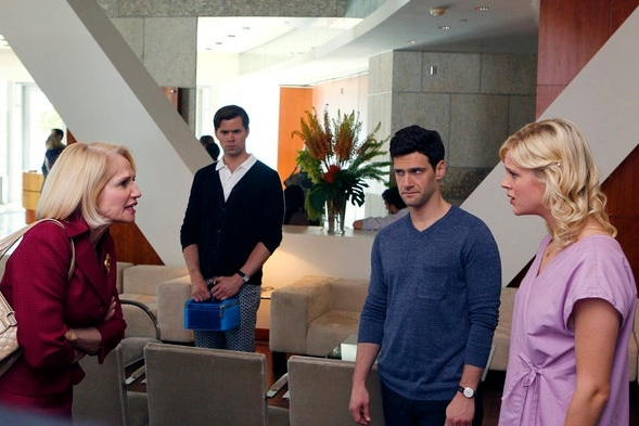 Ellen Barkin, Andrew Rannells, Justin Bartha, Regina King at First Look - Andrew Rannells in Pilot of THE NEW NORMAL