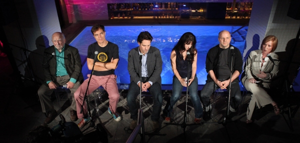 Ed Asner, Michael Shannon, Paul Rudd, Kate Arrington and director Dexter Bullard attend Broadway's 'Grace' cast press conference & photocall at the Grace Hotel on August 21, 2012 in New York City.