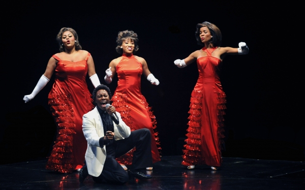 Jimmy and the Dreamettes: Raena White (Effie), Rashidra Scott (Lorrell Robinson), Britney Coleman (Deena) and Eric Lajuan Summers (James Thunder Early) at Raena White and More in The Marriott Theatre's DREAMGIRLS