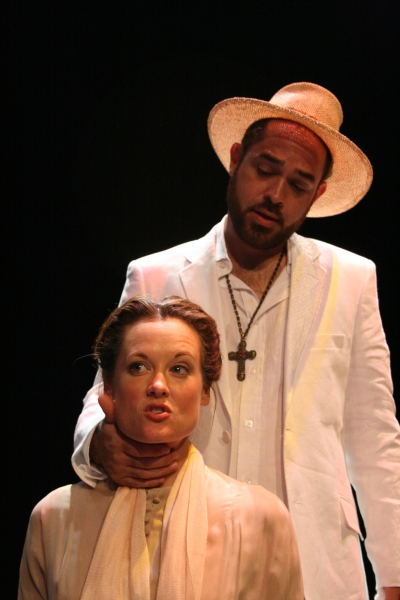 Kristie Ohlinger as Hannah Jelkes and Timothy Riggs as The Reverend Lawrence T. Shann Photo