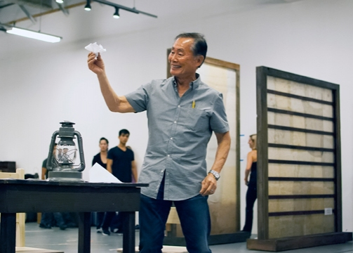George Takei in rehearsal for Allegiance - A New American Musical at The Old Globe in San Diego, California. The World Premiere of Allegiance, with music and lyrics by Jay Kuo and book by Marc Acito, Kuo and Lorenzo Thione, directed by Stafford Arima, wil