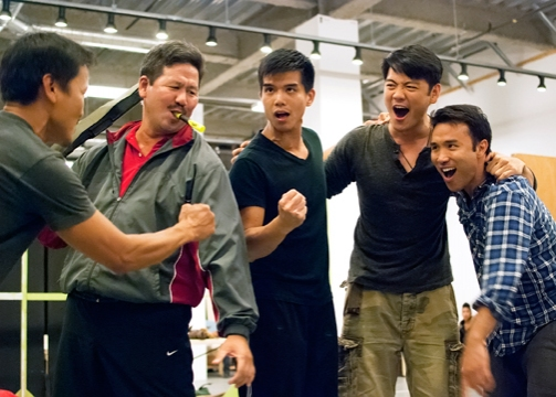 (from left) Jon Jon Briones, Scott Watanabe, Telly Leung, Karl Josef Co and Marc de la Cruz in rehearsal for Allegiance - A New American Musical at The Old Globe in San Diego, California. The World Premiere of Allegiance, with music and lyrics by Jay Kuo