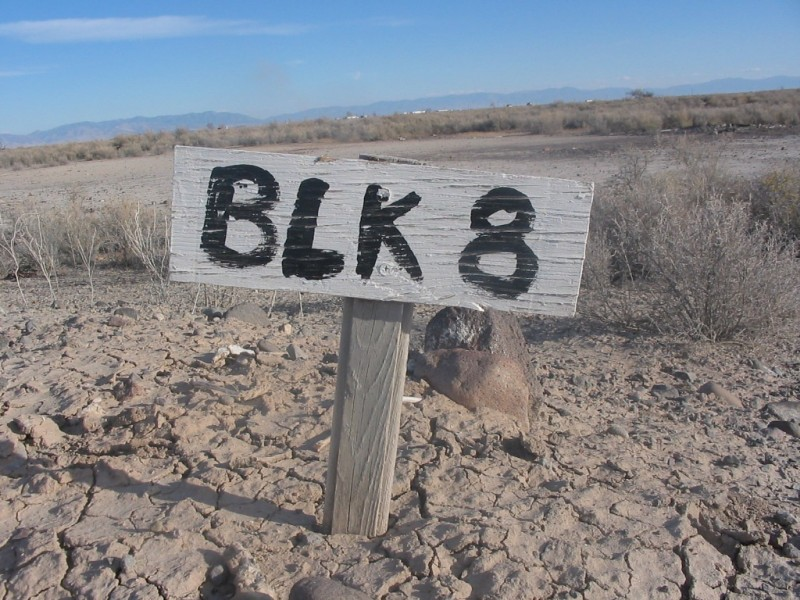 """Block 8"" is a picture Bennett snapped at the Topaz Internment Site. The little black-and-white sign, designated where block 8 was. It inspired the play's name."
