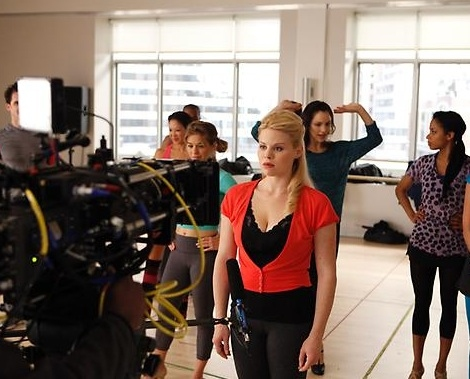 Megan Hilty at First Look - McPhee, Hilty, Borle on Set of SMASH
