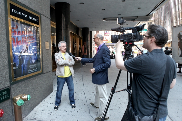 Frankie Valli being interviewed by Richard Ridge at Frankie Valli Meets the Press at Broadway Theatre!